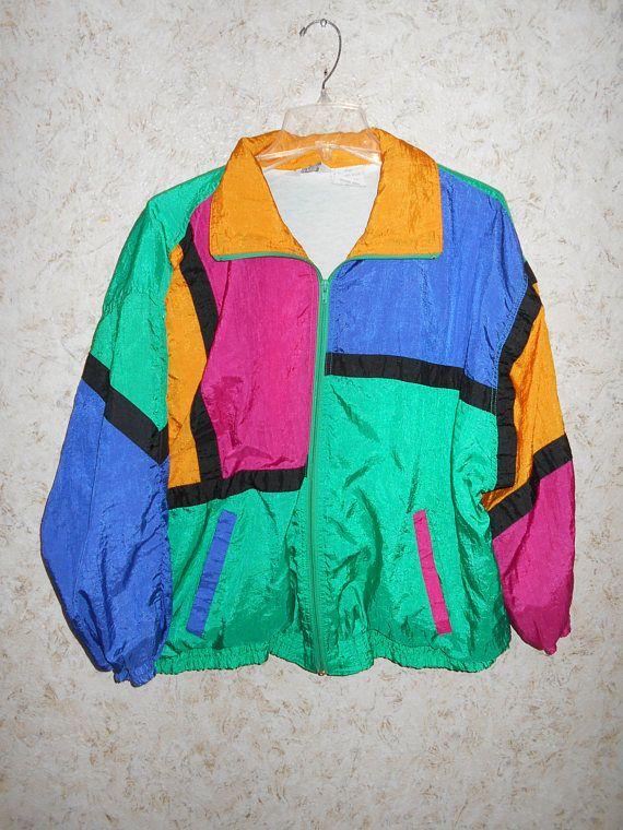 4ae943697a9b Vintage 90s Color Block Nylon Windbreaker Jacket Hip Hop Retro 1990s ...