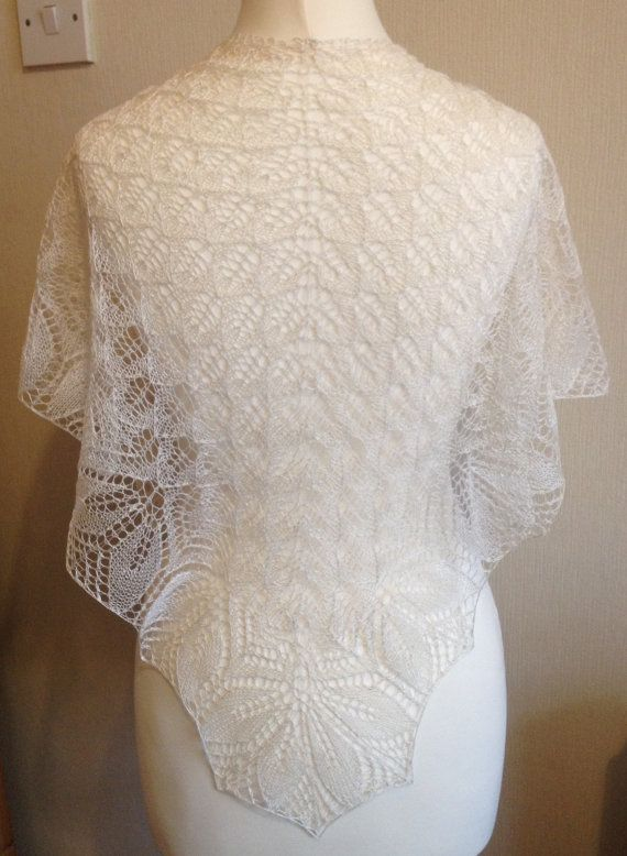 Haruni Hand Knitted Silk Lace Shawl / Wrap in by Snugglescuddles, £75.00