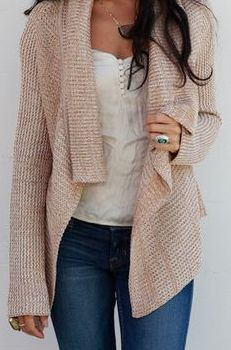 cardigan and button top.
