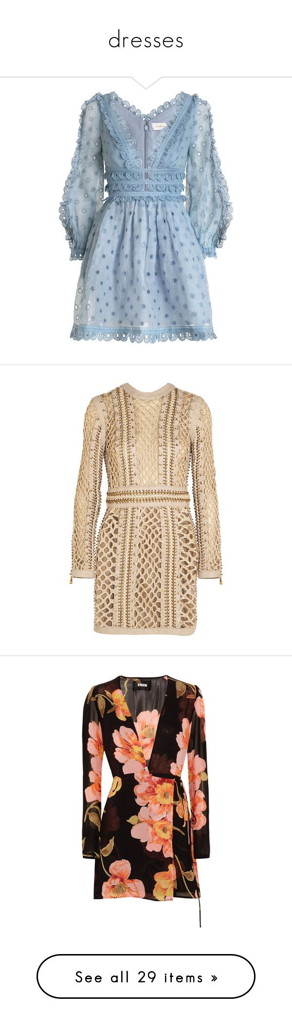 """dresses"" by janeorlova ❤ liked on Polyvore featuring dresses, vestidos, mini dress, embroidery dresses, sleeved dresses, tea party dresses, tea dress, balmain, short dress and beige"