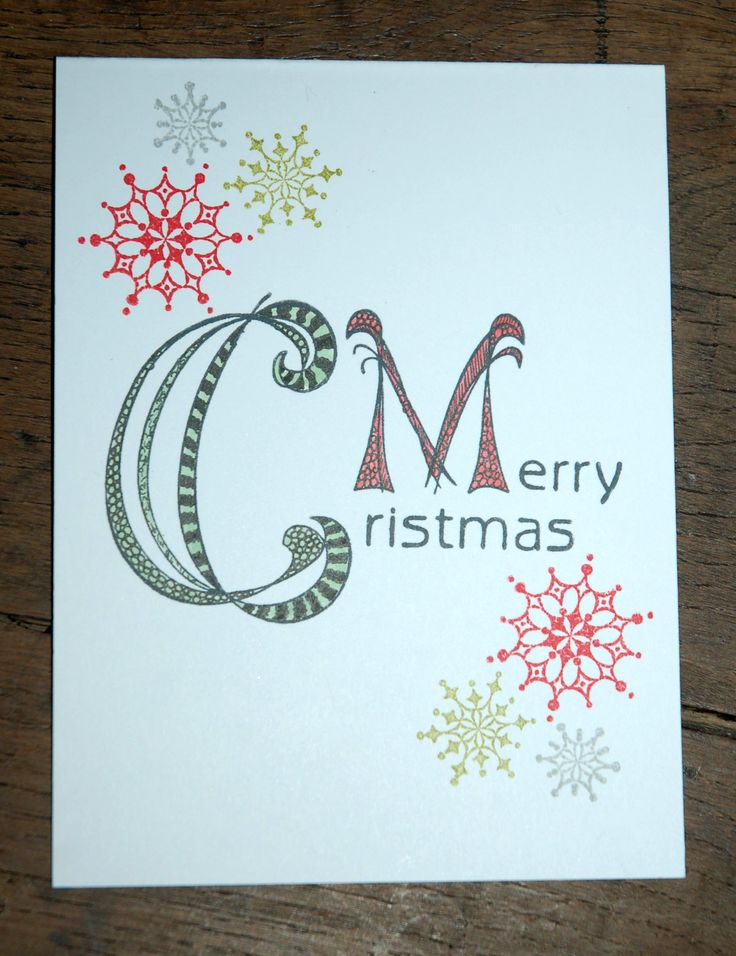 Christmas Card made by Aletta Heij. Doodle stamp 55.0171 Merry Christmas and 55.9869 Snowflakes. All products available at Snellencrafts.nl