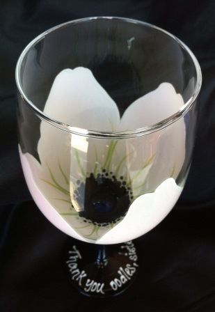 FLOWER GLASSES - White Flower Wine Glass - The Painted Flower (Powered by CubeCart) - hand painted flower wine glass