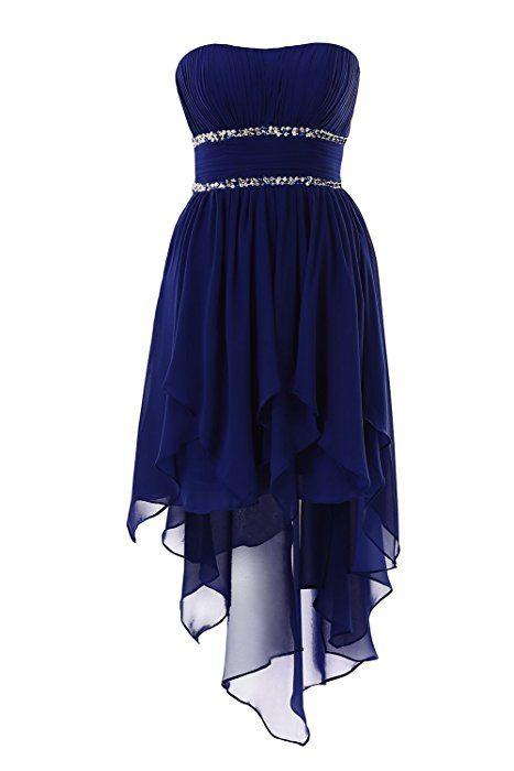 YiYaDawn Asymmetrische Ballkleid Abendkleid Vokuhila Kleid für Damen Größe 34 EU Jägergrün