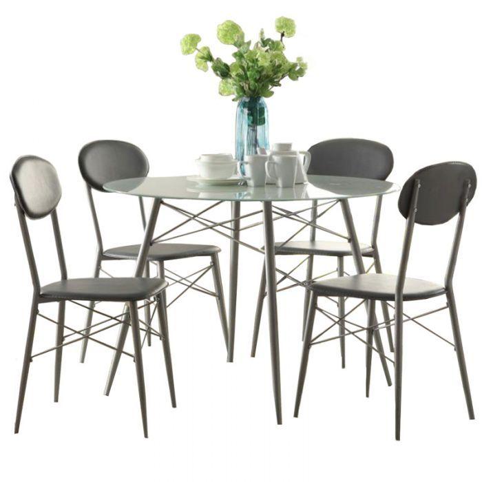 Beckett 5 Piece Modern Glass Top Dining Set | Weekends Only Furniture And  Mattress | Kitchen + Dining Room | Pinterest | Modern Glass, Dining And  Dining ...
