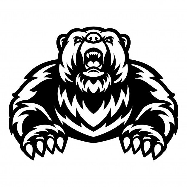 Grizzly Bear Mascot Logo Black And White In 2020 Grizzly Bear Mascot Bear Illustration