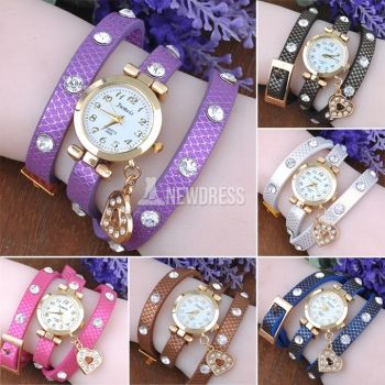 High Quality! Women\'s Synthetic Leather Woven Punk Watches Stylish Golden Shell Diamond Quartz Wristwatch