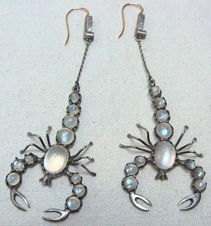 Fabulous Vintage Moonstone Scorpion Earrings on White Peacock Jewels Ruby Lane