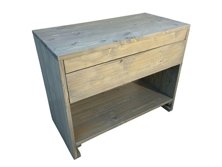 Badkamer meubel van steigerhout met 1 lade en schap (8320161105)
