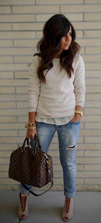 #fall #outfits women's Damier Ebene Louis Vuitton 2-way bag