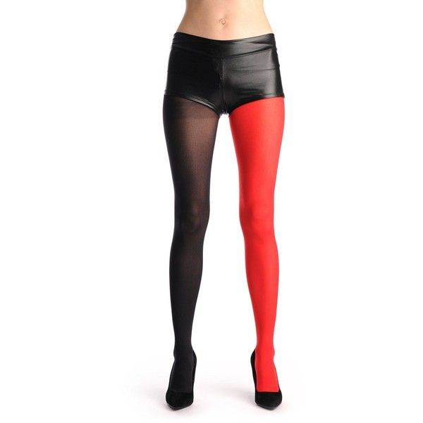 One Leg Red One Leg Black Red Designer Opaque Tights (200 MXN) ❤ liked on Polyvore featuring intimates, hosiery, tights, red tights, opaque pantyhose, opaque stockings, opaque hosiery and red stockings
