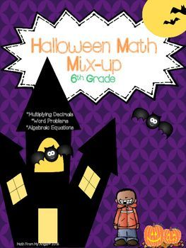 This is a great way to review concepts during the week of Halloween!  The file contains 3 ready-to-go printables.  Concepts include:*Multiplying Decimals*Solving Algebraic Equations*Word Problems   -Ratios   -Elapsed time   -Multiplication   -Division   -Mean   -Measures of time