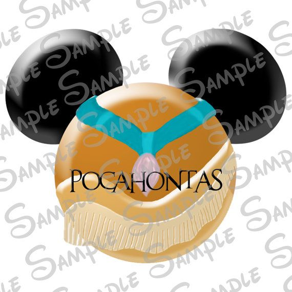 DIGITAL printable Princess Pocahontas Character inspired  Mickey head file Do-It-Yourself on Etsy, $3.99