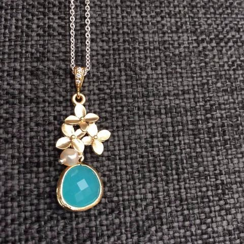 Unique, Sterling Silver, 18ct Gold, Aquamarine, Cubic Zirconia, Pendant, Necklace - Addy's Dress Unique, Vintage-inspired, Clothing