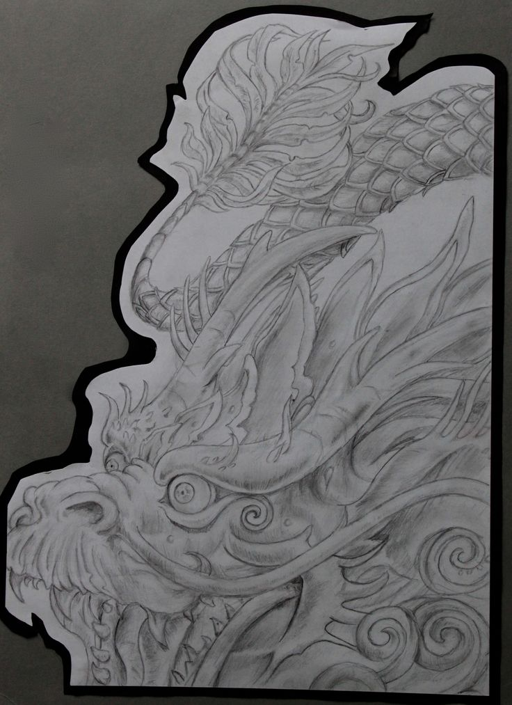 Finished Chinese dragon piece. A3 Size
