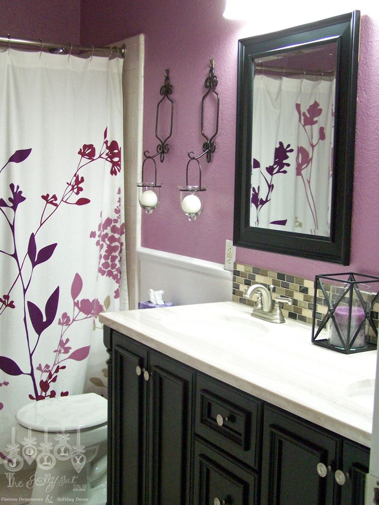 For second bathroom Purple and Black. Maybe a Black shower curtain though? I do like the vanity with the black cupboards
