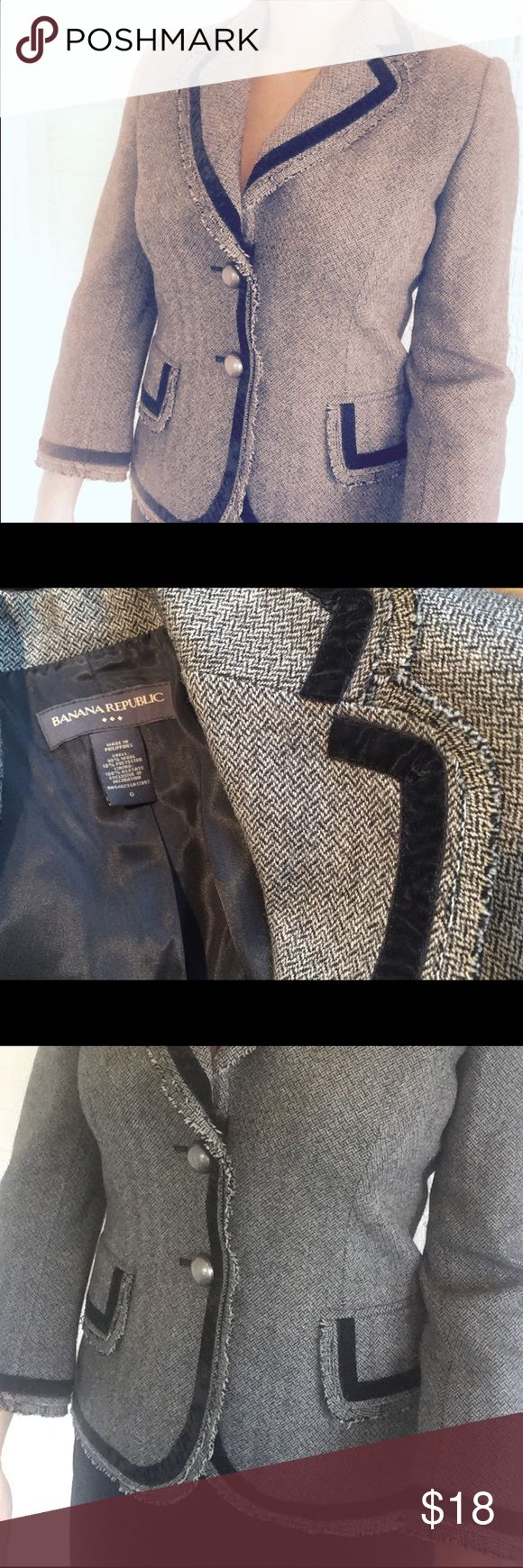Banana Republic   Tweed Blazer w Velvet Detailing Love this blazer - just never wear it (I live in Houston and wore shorts on Christmas Day!). Hoping someone will get some good use out of this - great piece to wear to work 💼👊🏼 Banana Republic Jackets & Coats Blazers