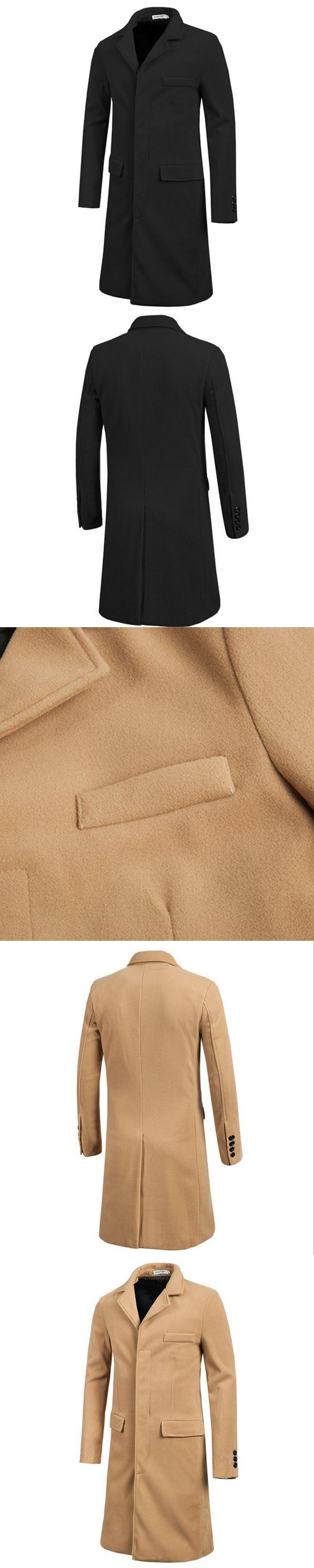 Solid color mens long trench coat autumn winter men's  single-breasted long trench coat men overcoat mens long coat jacket