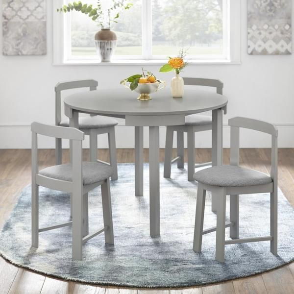 Harrisburg 5 Piece Tobey Compact Round Dining Set White Simple