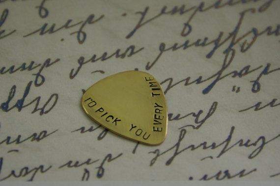 Guitar Pick, I'd pick you every time, Personalized guitar pick, Mens Gifts, Anniversary gifts for men, Aluminum