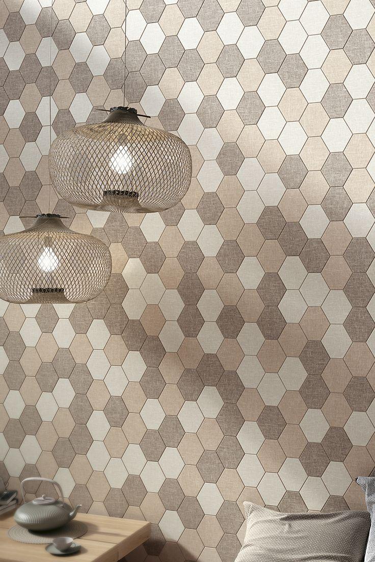 Reve by Mirage #wall #miragetile #porcelaintiles #wallpaper #walltiles #exagon #esagone #mosaic #interiordesign