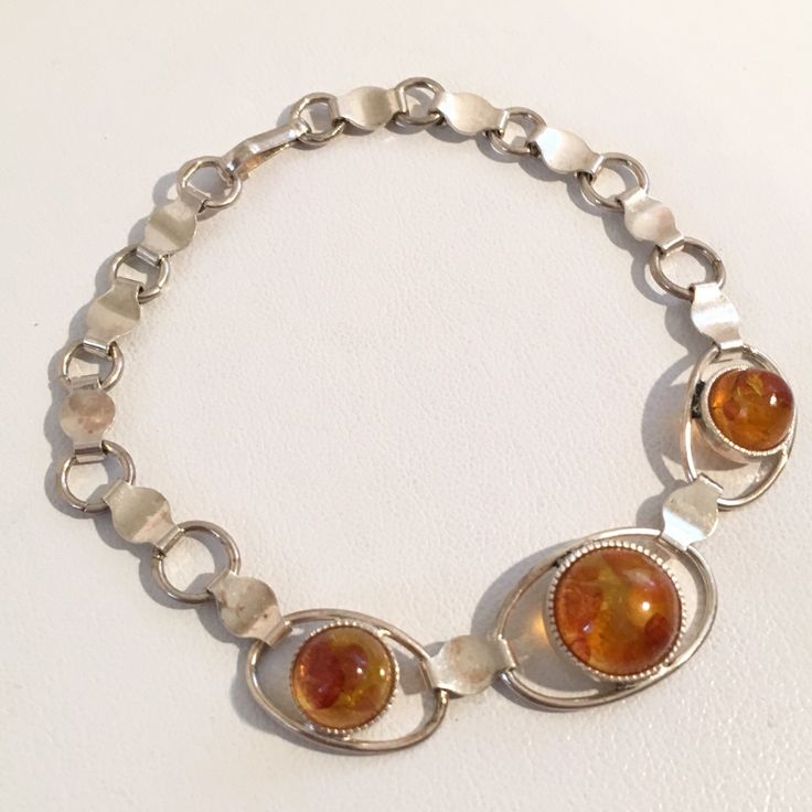 Vintag 875 Silver Baltic Amber Link Chain Bracelet Russian ...