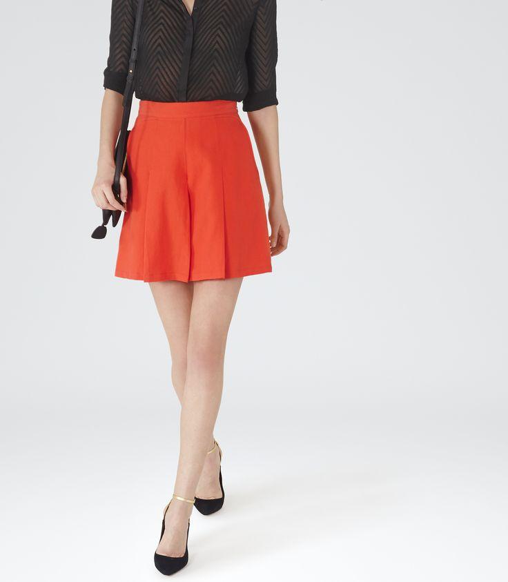 Womens Pomegranate Short Culottes - Reiss Fillipa Plain