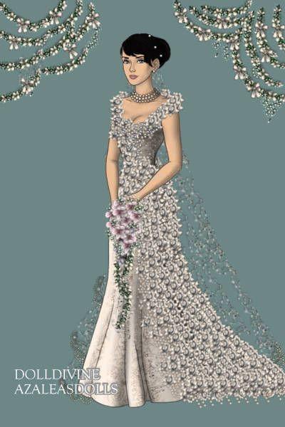 Elegant Joella wedding dress by rinxja created using the LotR Hobbit doll maker DollDivine
