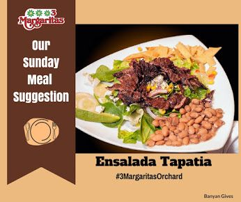 "Thinking of a nice healthy meal to have this Sunday? Try our Ensalada Tapatia. It has ""carne asada"" (grilled steak), romaine lettuce, spinach, tomatoes, onion, corn, avocado, black olives, whole beans, deep fried corn tortilla strips and ""Ranchero"" cheese, seasoned with ""Las Tres Margaritas"" vinegar dressing. Sounds delicious? See you! 
