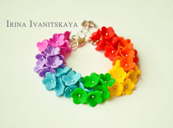 Радужный браслет мастер класс. Rainbow bracelet polymer Clay Tutorial.