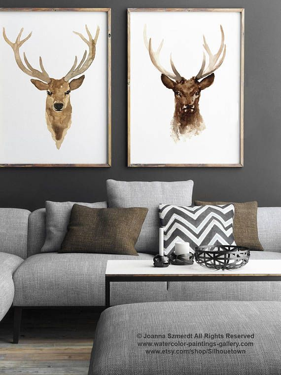 Deer Painting Two Deer Male Illustration set 2 Prints, Deer Illustration Watercolor Giclee Fine Art Print, Wildlife Living Room Wall Decor