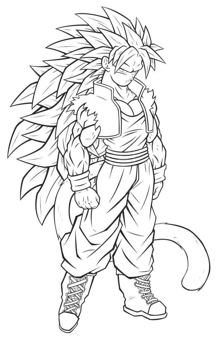 Imágenes de Goku y sus transformaciones para colorear   Colorear imágenes