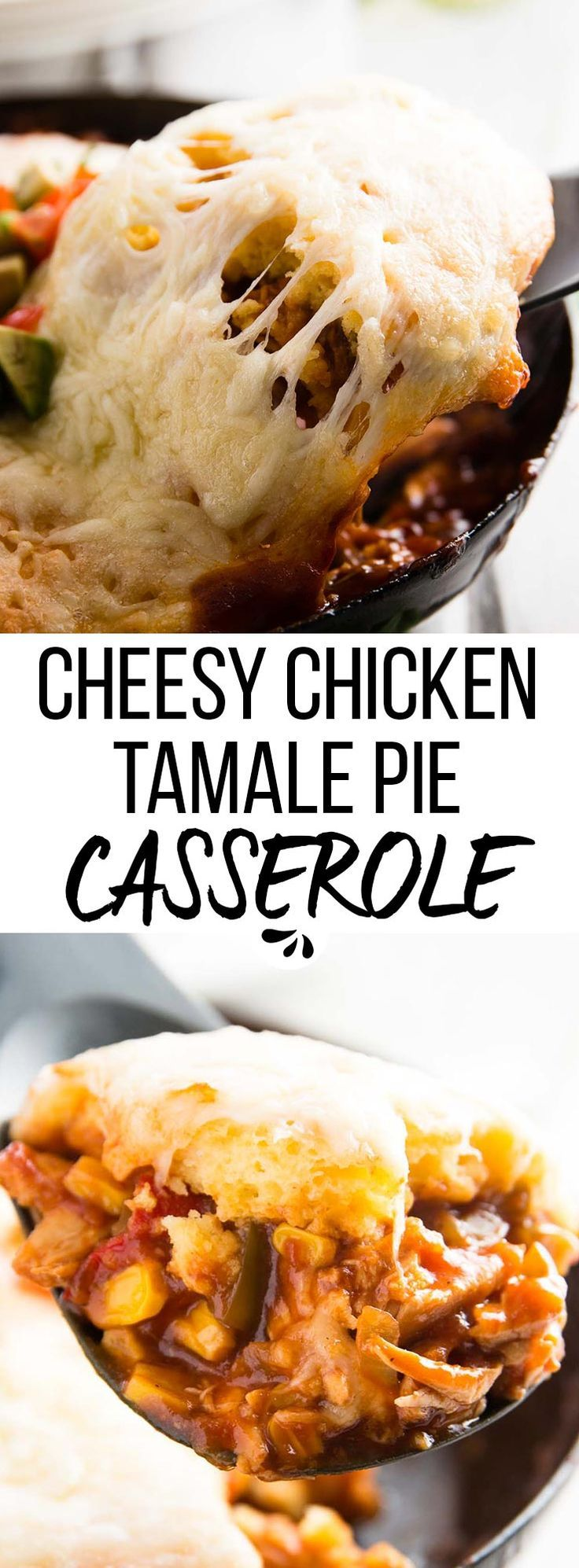 Make dinner time easy with this Cheesy Cornbread Chicken Tamale Pie Casserole recipe! Full of delicious flavors your whole family will love! So great how quick this comes together, and how easy to make with the BBQ sauce?! The cornbread topping takes this dinner recipe to the next level.