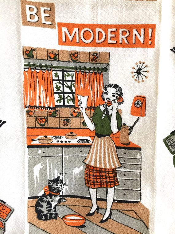 17 best images about vintage tea towel time on pinterest for Modern housewife