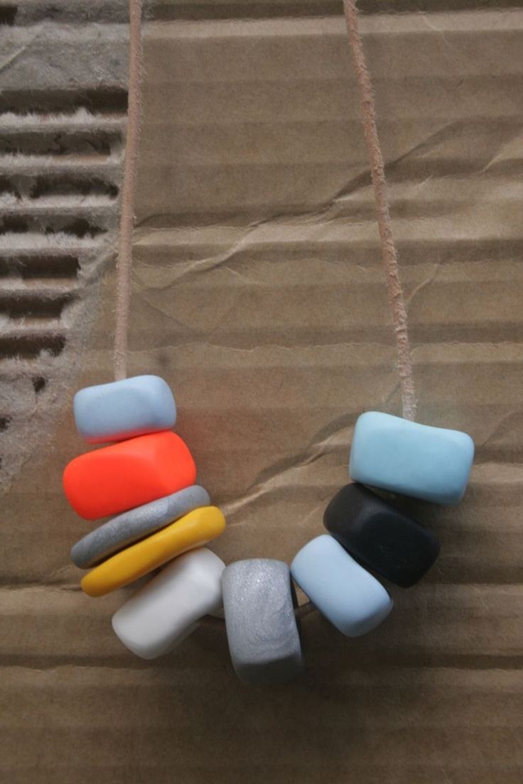 DISCO in the DAYTIME Block Bead Necklace - Orange, Silver and Blue. $35.00, via Etsy.