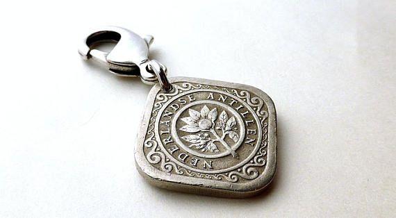 Dutch Antilles Coin charm Zipper charm Caribbean Purse