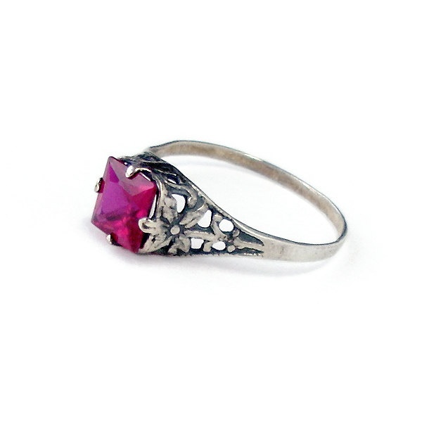 Little Ruby Ring: Sterling Silver and Ruby - square gemstone, raspberry red, antique setting, vintage mount, flower band, size 7