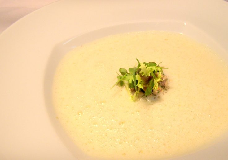 Potato soup with grilled veal tatar