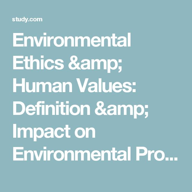 Environmental Ethics & Human Values: Definition & Impact on Environmental Problems - Video & Lesson Transcript | Study.com
