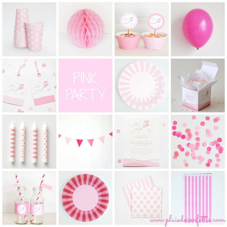 Pink party products on www.pluiedeconfettis.com