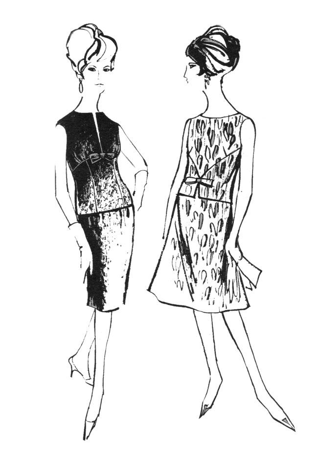 Line Art Illustration Style : Two piece outfits overblouses with matching skirts