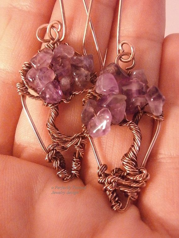 Wire Wrapped Earrings Tree of Life Amethyst di PerfectlyTwisted