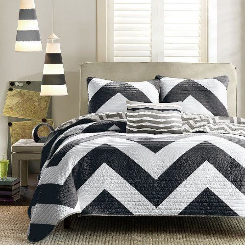Black & Grey Chevron Bedding Set