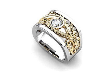 Square shaped white and yellow gold solitaire filigree ring by T & T Jewellers.