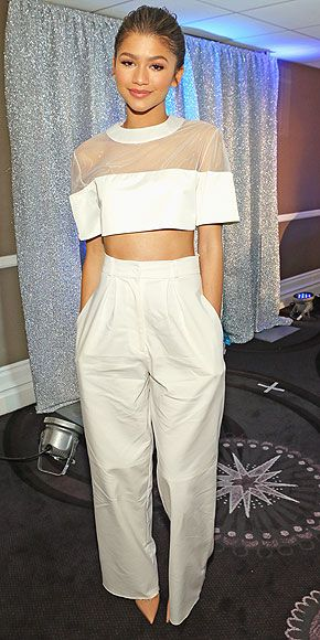 Last Night's Look: Love It or Leave It? Vote Now! | ZENDAYA | in a white mesh crop top and high-waist pants at the unite4:humanity gala in L.A.
