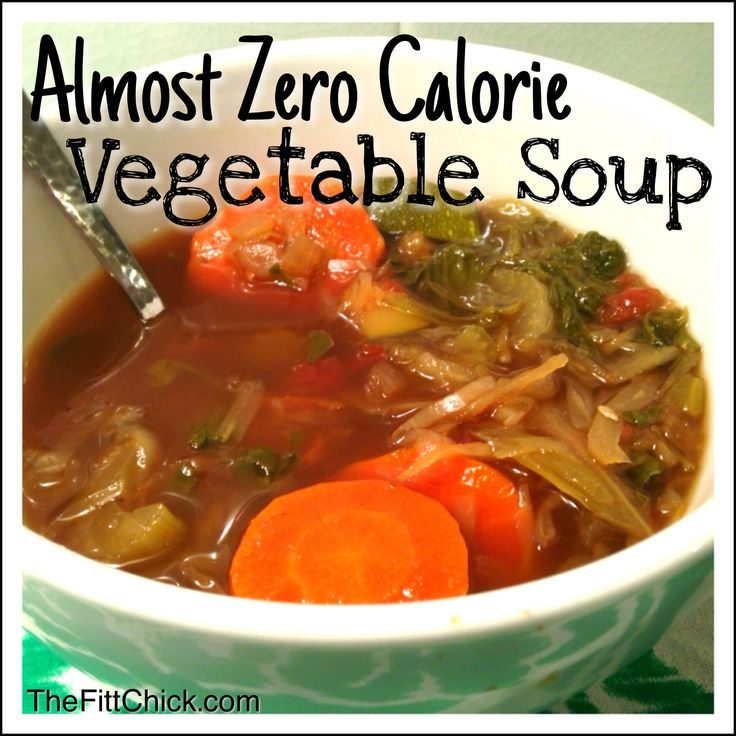 This Almost Zero Calorie Vegetable Soup not only tastes amazing, but fills me up when I'm looking for a warm snack!
