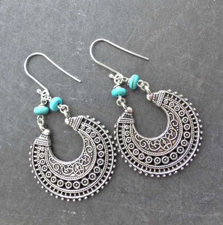Sterling silver and turquoise stone  metal earrings. Bohemian jewelry.