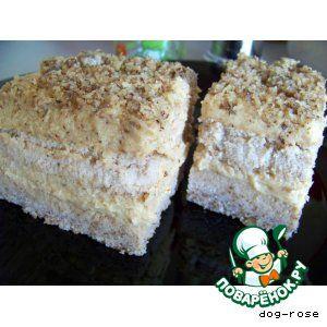 """""""Ореховый торт"""": Крахмал картофельный — 6 ст. л. Орехи грецкие (измельченные; в тесто - 100 г, в крем - 100 г, для посыпки - 50 г) — 250 г Сахар (в тесто и крем по 0,5 стак.) — 1 стак. Яйцо куриное — 5 шт Мука пшеничная — 1 ст. л. Молоко — 1,5 стак. Масло сливочное — 100 г Кофе натуральный (сваренный, крепкий, охлажденный) — 150-200 мл  Источник: http://www.povarenok.ru/recipes/show/59178/"""