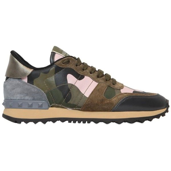 Valentino Women Rockstud Camouflage Sneakers (£460) ❤ liked on Polyvore featuring shoes, sneakers, multi, valentino shoes, camo shoes, camo print shoes, rubber sole shoes and studded shoes