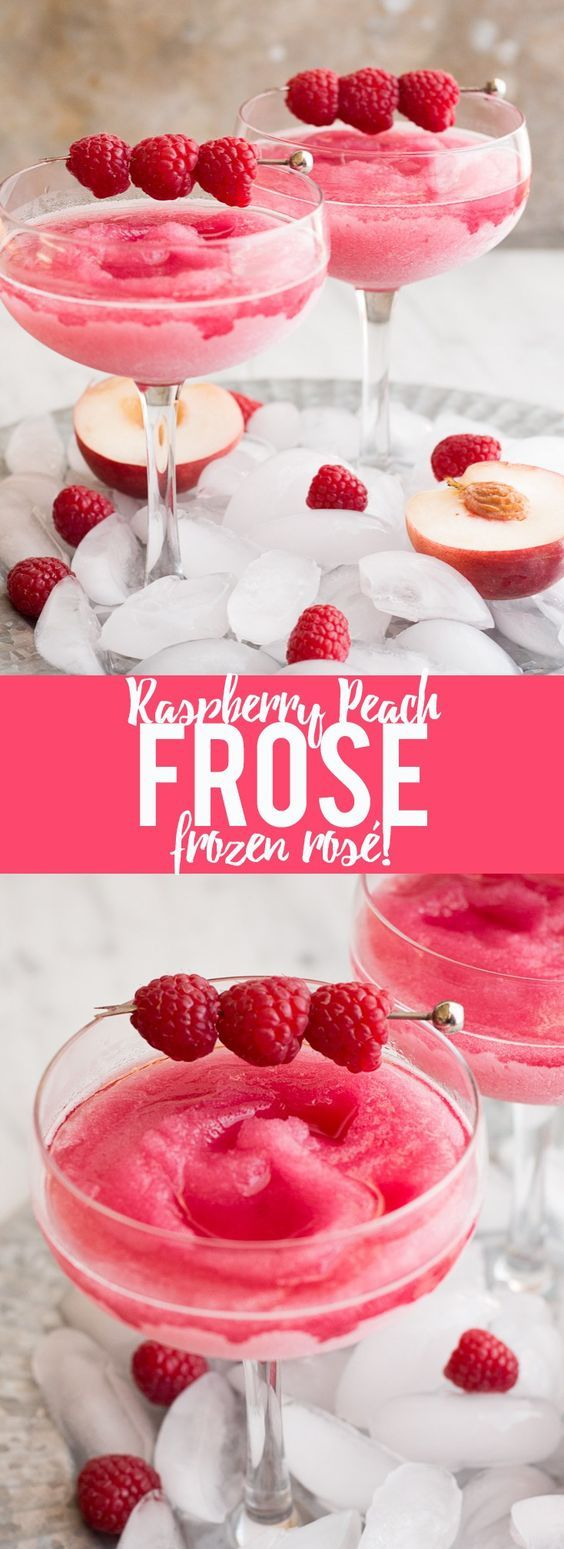 "Your summer drink dreams came true! Raspberry Peach Frosé (Frozen rosé) is a frozen rosé blended into a frosty pink drink that will keep you cool while you say ""Yes way rosé!"" Galentine's Day drink 