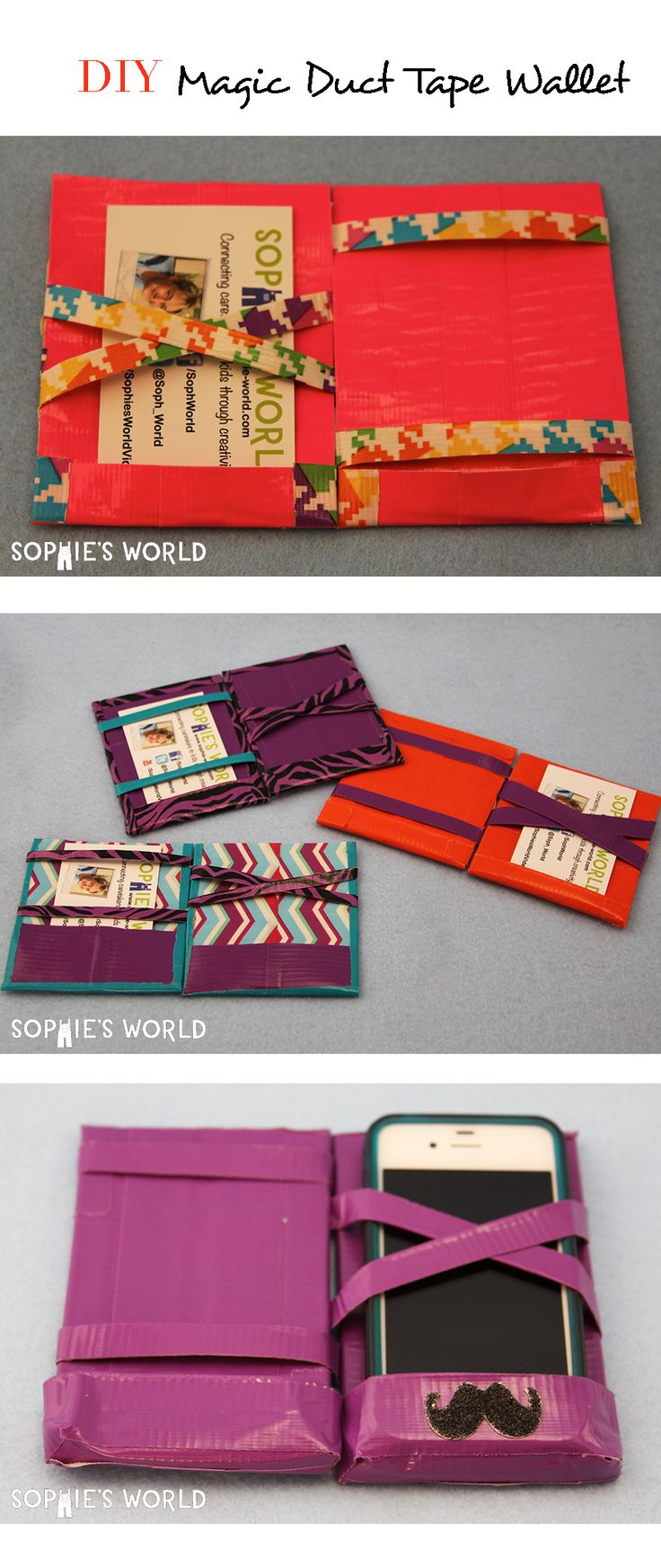 Originally invented in the 1920's to stash tips and receipts, the magic wallet snugly secures all your cash and cards. Just drop them inside and voilà! The wallet (magically) organizes and keeps everything safe. DIY with duct tape.